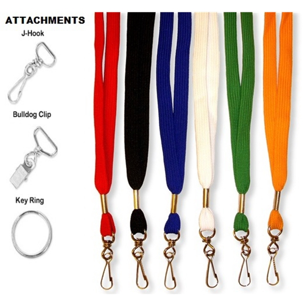 "3/8"" Flat Braid Blank Lanyard with attachment"