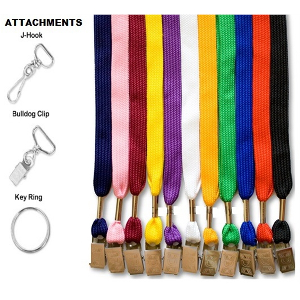 Flat Blank Lanyards with Bulldog clip