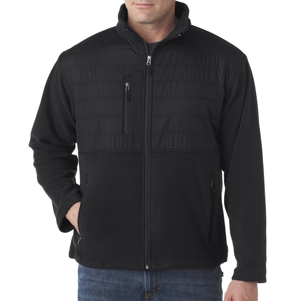 Adult Fleece Jacket with Quilted Yoke Overlay
