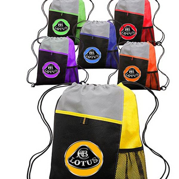 Mesh Pocket Drawstring Backpacks