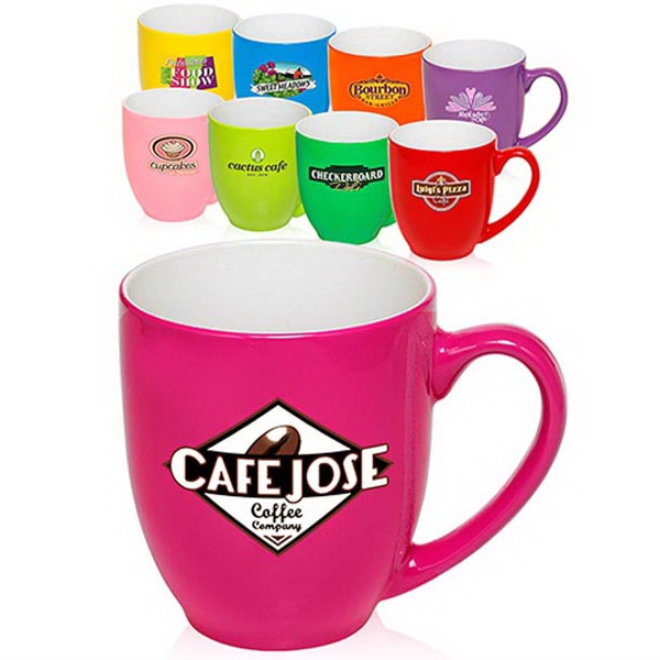 16oz Bright Colors Bistro Mugs