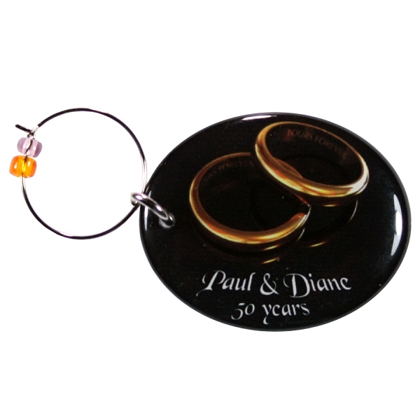 Wine Glass Charm with single sided full color domed imprint - Wine glass charm with wire hook for easy attachment to the stems of wine glasses.