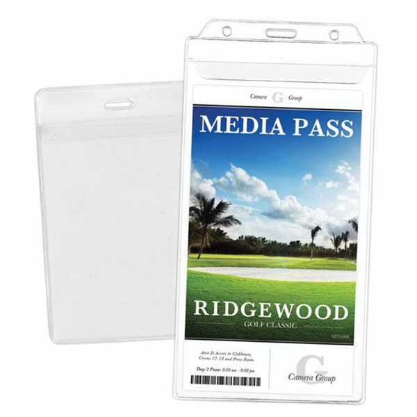 "1-Pocket Vinyl Credential / Ticket Holder (4"" x 6.96"")"