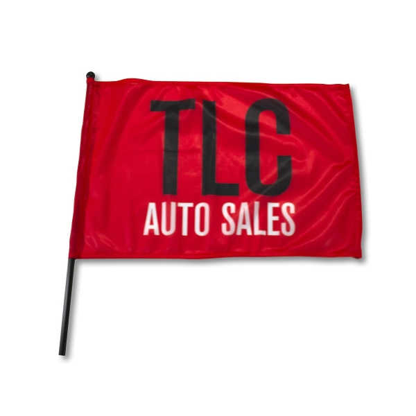 "Waving Rally Flag -21.5"" x 14.5"" with 20-21.5"" pole 110 Poly"
