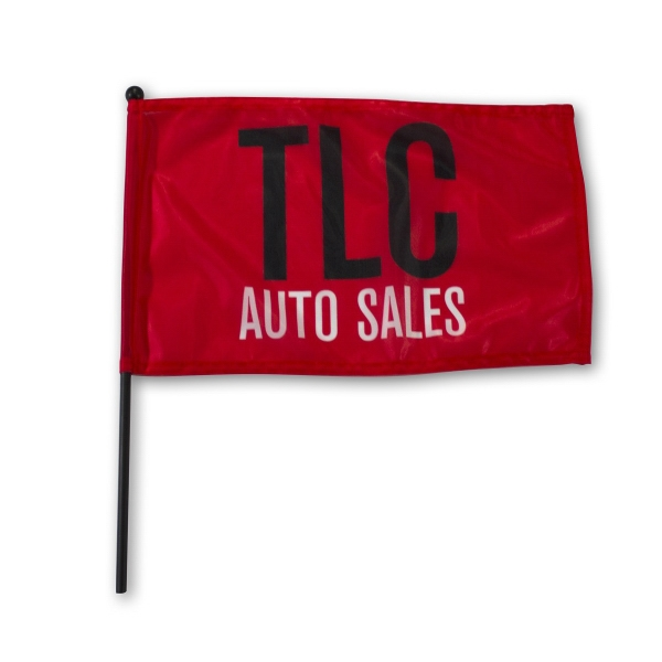 "Waving Rally Flag 15"" x 9"" with 16"" pole 110 Polyester"