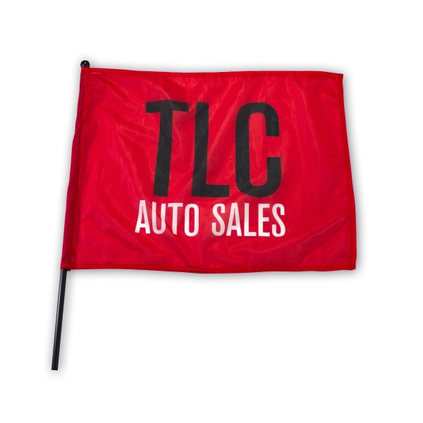 "Waving Rally Flag 22"" x 17"" with 24"" pole 110 Polyester"