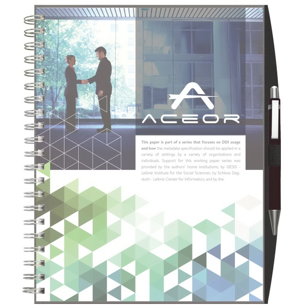 Clear View - Large Note Book w/ Pen Port & Pen