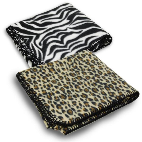 Animal print fleece blanket