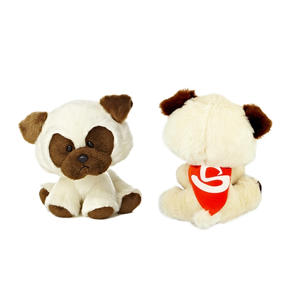 """6"""" Poppy Pug with bandana and one color imprint"""