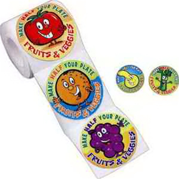 Fun Fruits & Veggies Stickers On A Roll