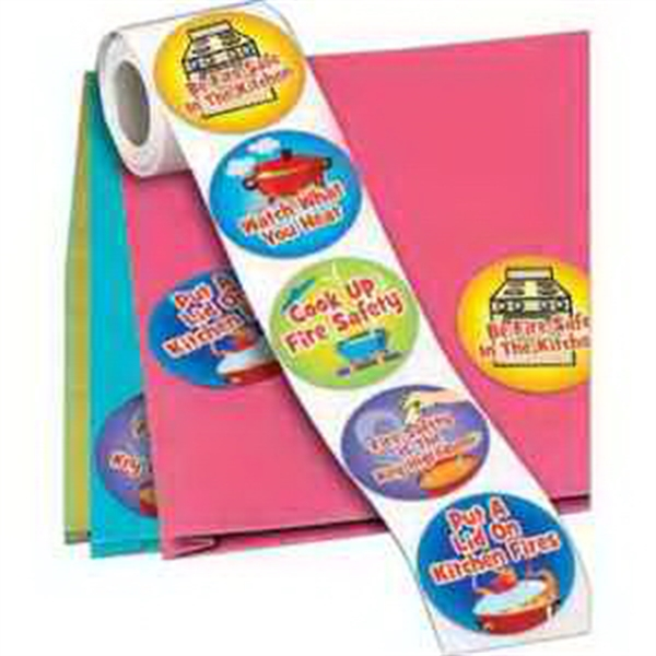 Be Fire Safe In The Kitchen 5-On-A-Roll Message Stickers