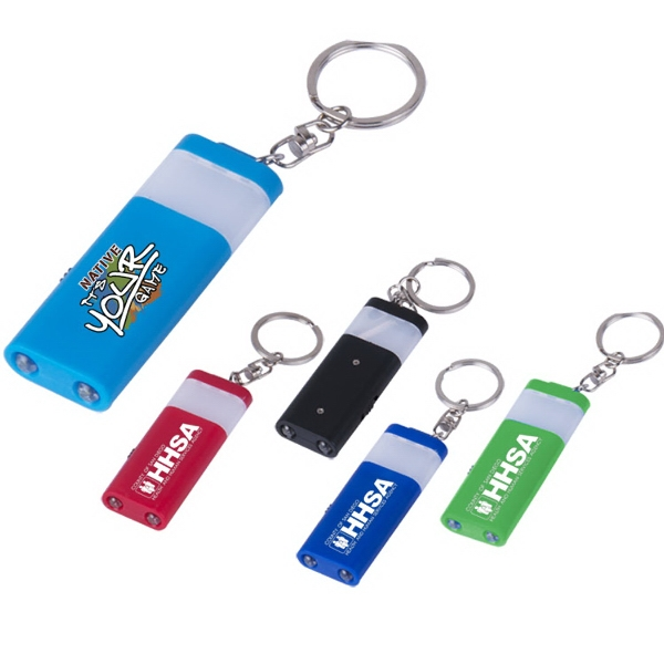 Retangular dual LED and lantern Keychain with full color