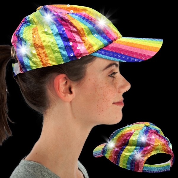 Rainbow Sequin LED Baseball Hat