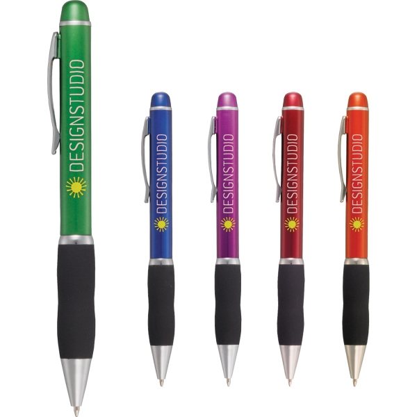 The Cypress Pen - Twist action ballpoint pen with rubberized grip and metal clip.