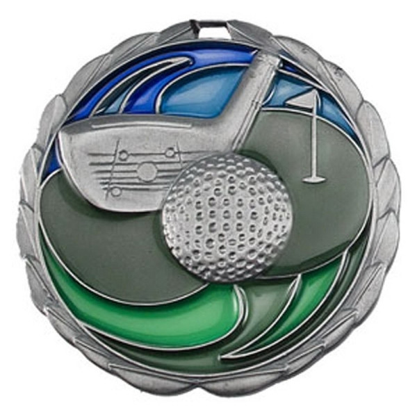 "2 1/2"" Color Epoxy Medallion GOLF in Silver"