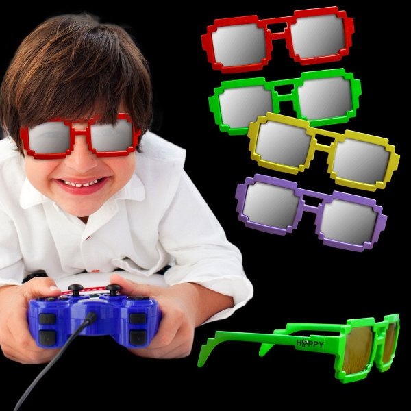 Assorted Color Pixel Mirrored Sunglasses