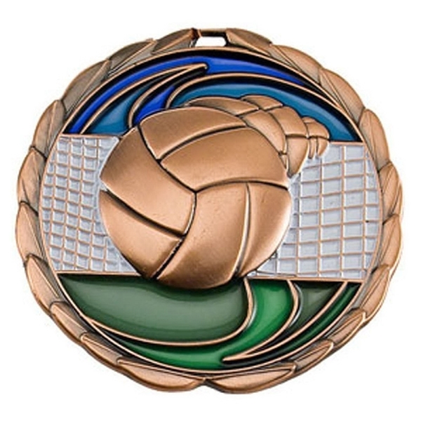 "2 1/2"" Color Epoxy Medallion VOLLEYBALL in Bronze"