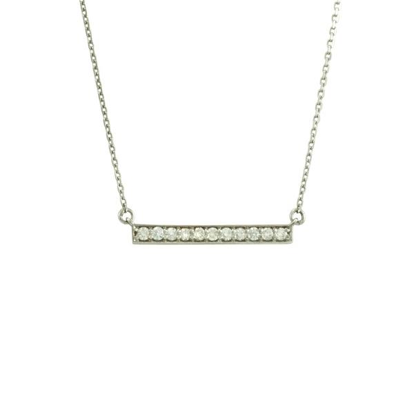 "Antwerp Diamonds ""Straight Row"" Bar Necklace -14k White Gold"
