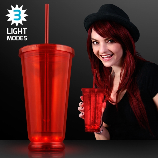 Light Up Red Deluxe Double Wall Tumblers