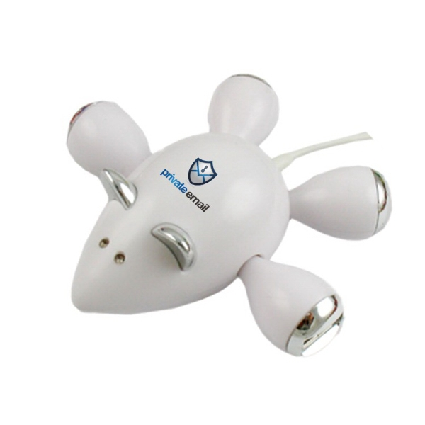 Mouse Shape 4 Port Usb Hub with full color process