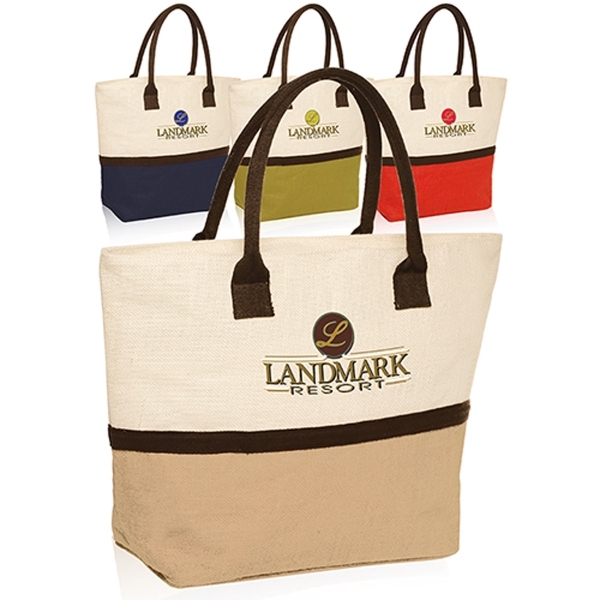 Two tone jute tote bag