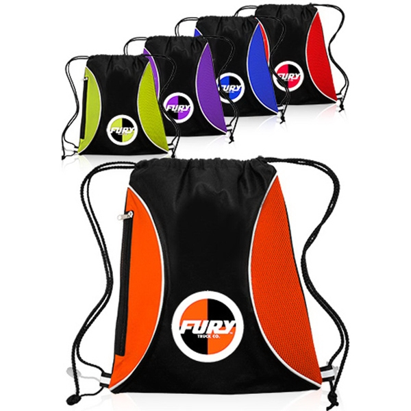 Non-woven zipper side drawstring backpack