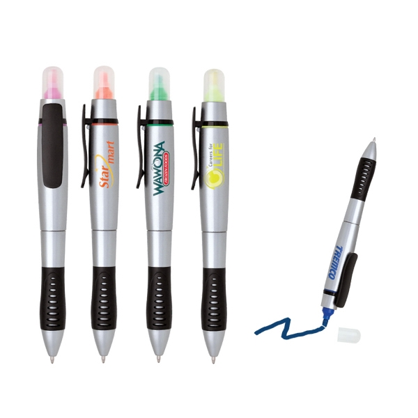 2 in 1 twist action highlighter and ballpoint pen