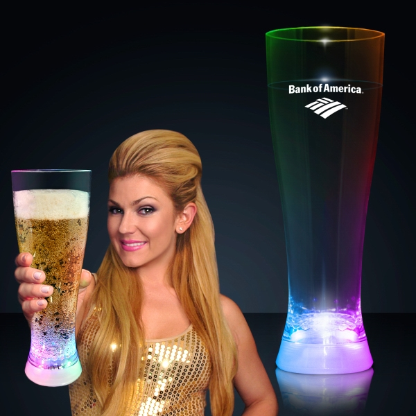 Tall lighted pilsner glass