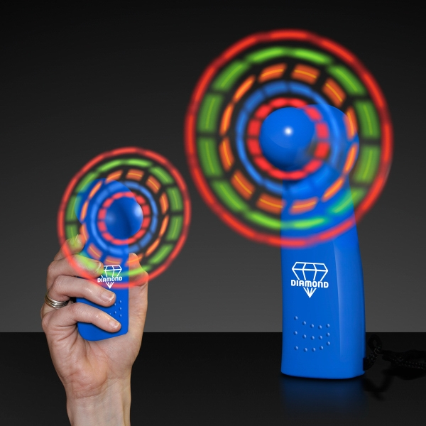 Light Up Promotional Mini Fans with Blue Handles