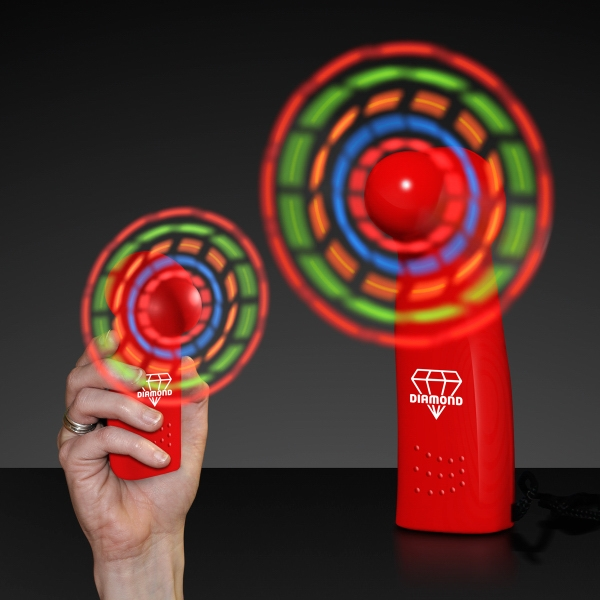 Light Up Promotional Mini Fans with Red Handles