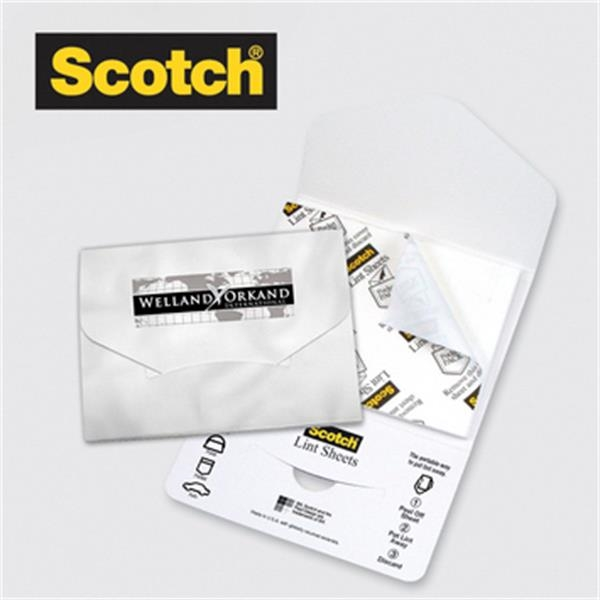 Scotch Lint Sheets Pocket Pack - Scotch Lint sheets pocket pack, choice of stock background design, 4 spot color.