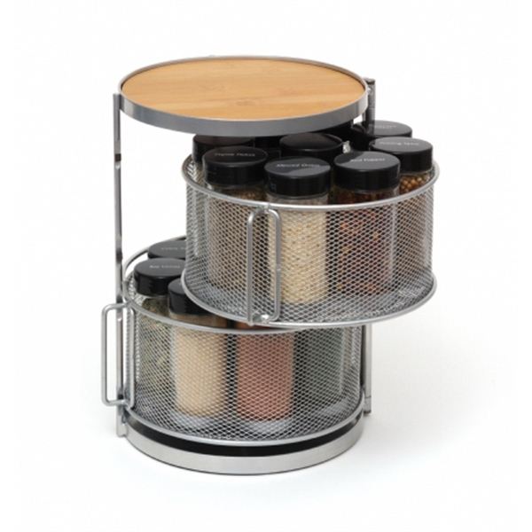 Round Spice Tower, Two-Tier, Filled Spice Bottles