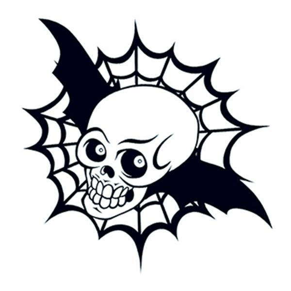 Glow in the Dark Black Bat Skull Temporary Tattoo - Glow in the Dark Black Bat Skull Temporary Tattoo