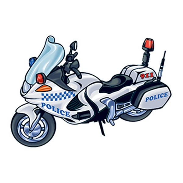 Police Motorcycle Temporary Tattoo - Police Motorcycle Temporary Tattoo