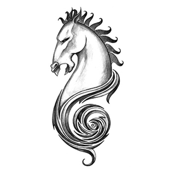 Iron Tribal Horse Temporary Tattoo - Iron Tribal Horse Temporary Tattoo