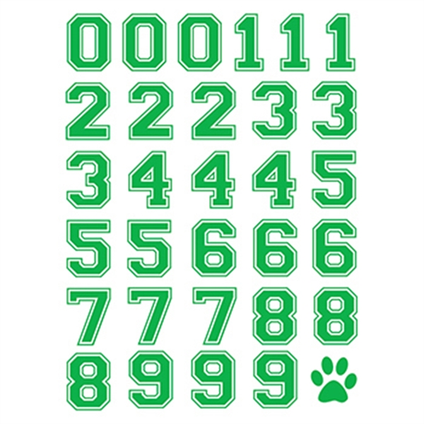 Green Sports Numbers Temporary Tattoo Sheet