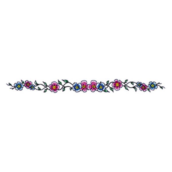 Blue and Purple Flowers Temporary Tattoo - Blue and Purple Flowers Temporary Tattoo