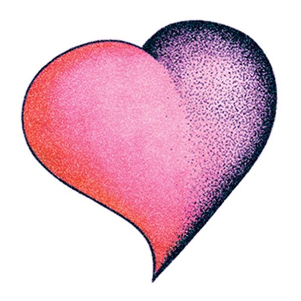 Glitter Purple and Pink Heart Temporary Tattoo - Glitter Purple and Pink Heart Temporary Tattoo