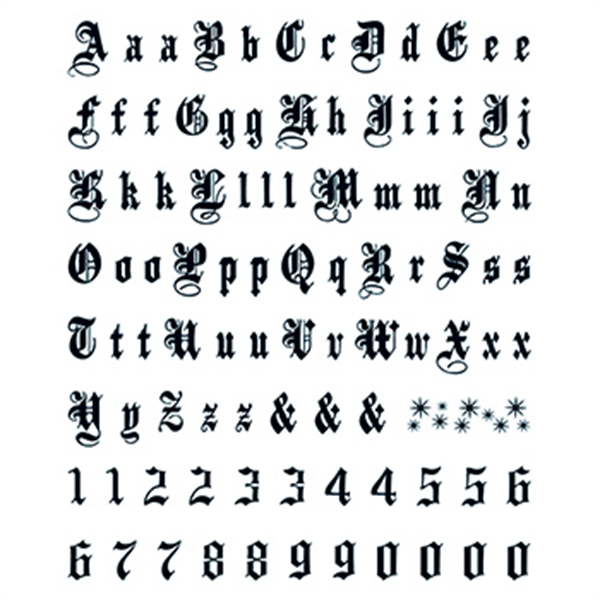Letters & Numbers: Old English Temporary Tattoo - Letters & Numbers: Old English Temporary Tattoo