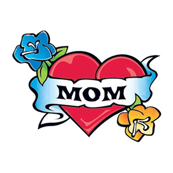 Heart with Mom Banner Temporary Tattoo - Heart with Mom Banner Temporary Tattoo