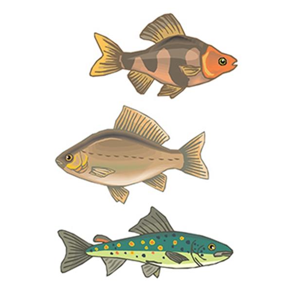 Set of 3 Fish Temporary Tattoos - Set of 3 Fish Temporary Tattoos