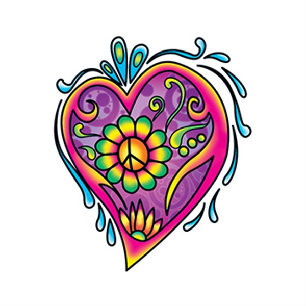 Hippie Heart Temporary Tattoo - Hippie Heart Temporary Tattoo