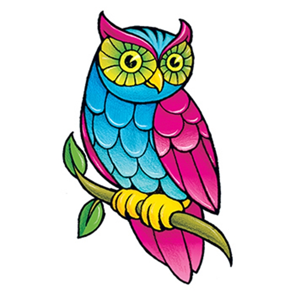 Classic Girls: Owl Temporary Tattoo - Colorful Owl Temporary Tattoo