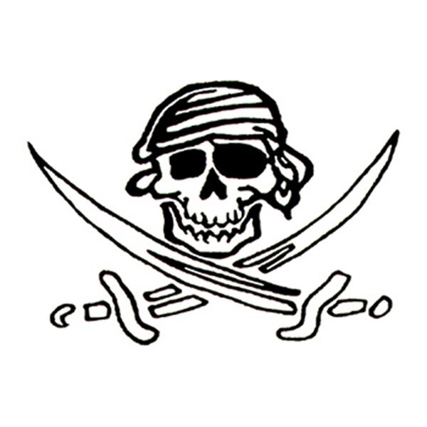 Glow in the Dark Skull and Swords Temporary Tattoo - Glow in the Dark Skull and Swords Temporary Tattoo