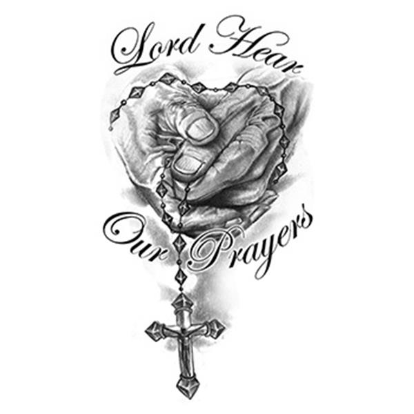 Hands with Rosary Temporary Tattoo - Hands with Rosary Temporary Tattoo