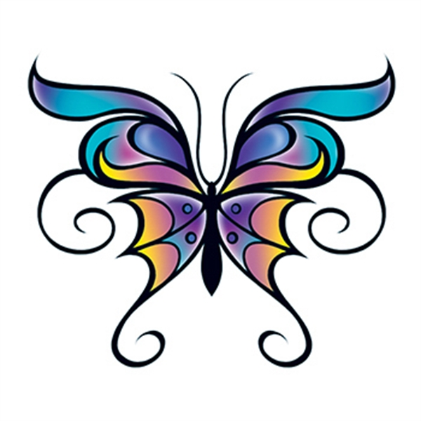 Flat Butterfly Temporary Tattoo