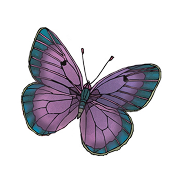 Purple and Green Butterfly Temporary Tattoo - Purple and Green Butterfly Temporary Tattoo