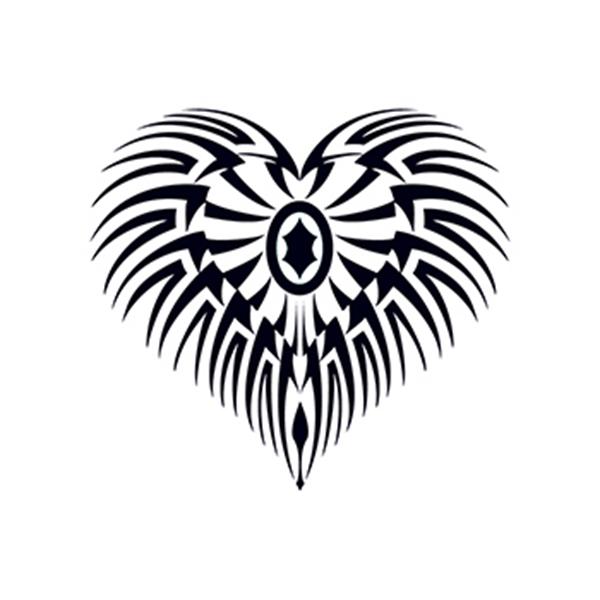Glow in the Dark Tribal Heart Temporary Tattoo - Glow in the Dark Tribal Heart Temporary Tattoo