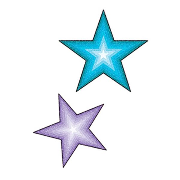 Glitter Purple and Blue Stars Temporary Tattoo - Glitter Purple and Blue Stars Temporary Tattoo