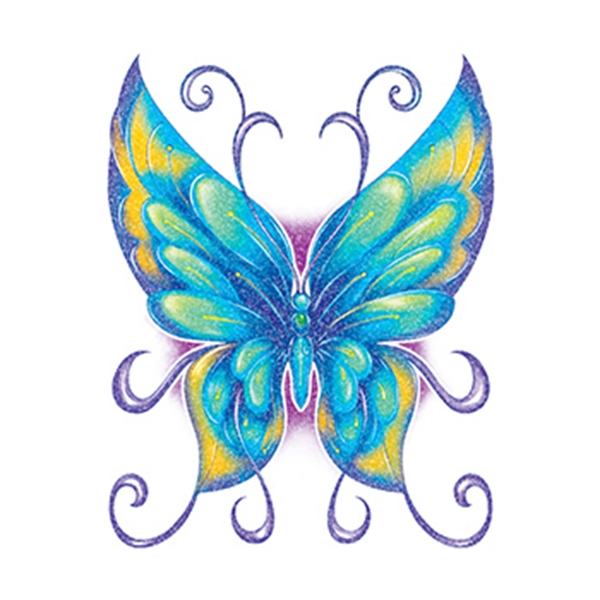 Glitter Blue and Green Butterfly Temporary Tattoo - Glitter Blue and Green Butterfly Temporary Tattoo